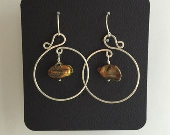 Gold freshwater pearl and sterling silver earrings