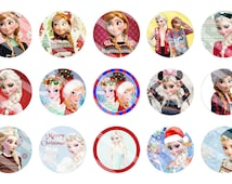 Frozen Christmas 1 inch Digital Bottle Cap Images, Anna and Elsa, Perfect for hairbows, jewelry, scrapbooking.