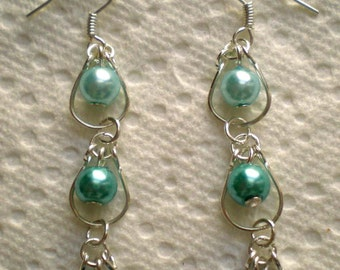 Pair of Handcraft Wrap in Wrap Dangle Earrings with Glass Pearls
