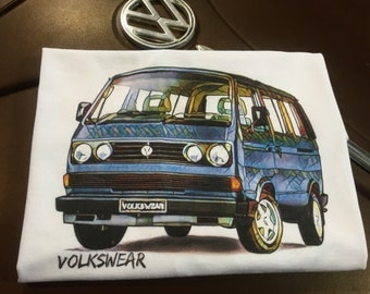 Vanagon Tintop Campervan T3 Full front print on a 100% cotton preshrunk Tee. White shirt, Full Color print.