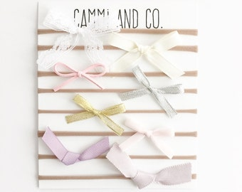 Customize your set - choose 3 or 5 hand tied bows and colors