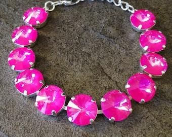 ULTRA PINK Swarovski crystal 12mm bracelet in sterling silver - neon crystal rivolis