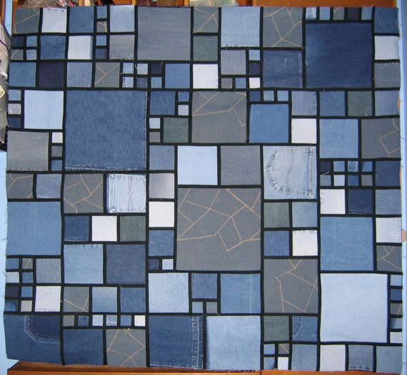 Stained glass denim quilt pattern by lucysquilts on etsy for Window pane quilt design