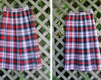 Vintage Plaid Wool Skirt by Presick and Moore, Made in Great Britain, Size 10, Pleated, Preppy School Girl