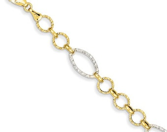 "Beautiful 14 Karat Two-tone White and Yellow Gold Round & Oval Link 7.5"" Inch Bracelet"