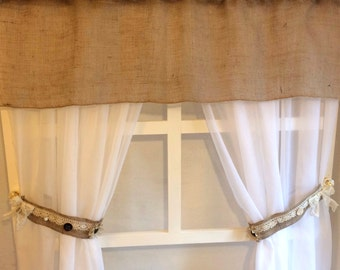 Burlap Curtain tie backs w/valance,Tie backs w/ valance.
