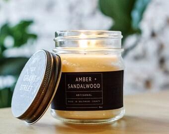 8oz Amber + Sandalwood Mason Jar Scented Soy Candle