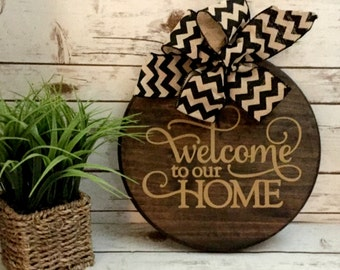 Front door sign welcome sign door hanger rustic door sign housewarming new home gift wedding gift