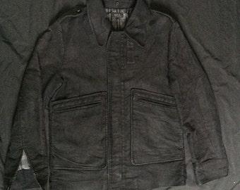 Vintage APC APC A.P.C Rue De Fleurus Paris Black Coat Heavy Cotton Size 2