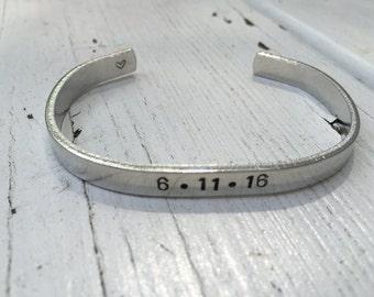 Anniversary Date Bracelet - Custom Date - Bridal Shower Gift - Personalized Wedding Gift - Gift for loved one