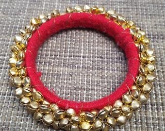 Ghungroo Bells Bangle Bracelet, India, Crimson Red