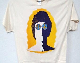 JOHN LENNON, The Beatles, Classic 60's Retro Ivory T-SHIRT T-958Ivy