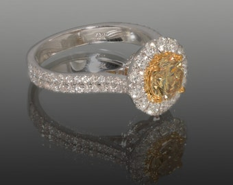 Certified Platinum Colored Diamond Ring