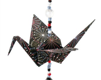 "Beaded Origami Crane #1, ""Fireworks"" pattern"