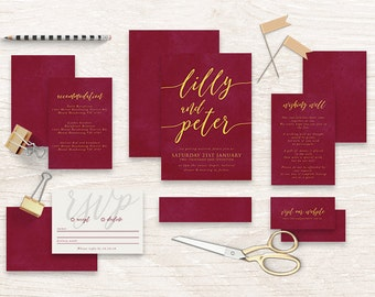 "Printable Wedding Invitation Suite ""Crowned"" - Printable DIY Invite, Affordable Wedding Invitation"
