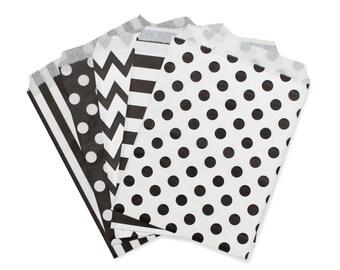 Party Favor Bag, Paper Favor Bags, Black & White Polka Dot, Striped, Chevron Paper Favor Bags, Black Wedding Favor Bags, Engagement Party