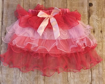 Red and Pink Ruffled Tulle Skirt Baby/Toddler 2T