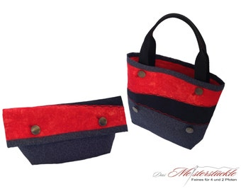 Clutch bag purse with handle in black red