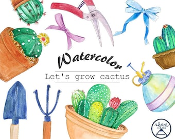 Watercolor Clipart Cactus and Tools for any plants