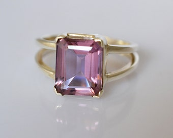 Exclusive 92.5 Solid Sterling Silver Handmade Ring Studded with 100% Color Change Lab Created Alexandrite Custom Size 4-13 (US)