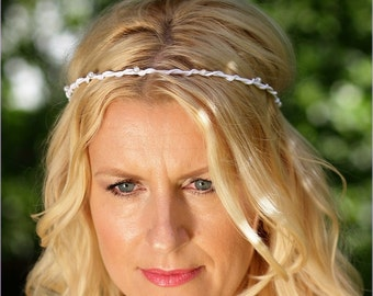 Bridal headband just pearls white