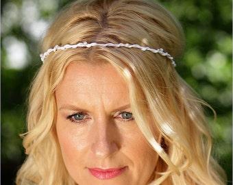 Bridal headband just pearls white