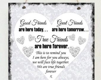 Beautiful Shabby Plaque Best Friend Birthday Friends Chic Gift Present Christmas