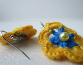 Earrings sunflower crochet yellow blue color with beads