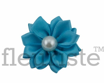 TURQUOISE Ribbon Flower With Pearl, Satin flower, Fabric rose, Rolled Rosette, Wholesale Flower, Fabric Flower, Satin Flower, 3pc