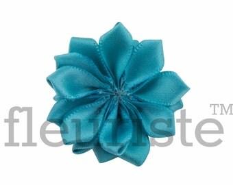 TEAL Ribbon Flower, Satin flower, Fabric rose, Rolled Rosette, Wholesale Flower, Fabric Flower, Satin Flower, Satin Flowers, 3pc