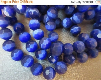 ON SALE Royal Blue Cat's Eye Faceted Round 8mm Beads 51pcs