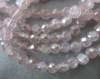 Chinese Crystal Faceted Coin Beads 69pcs Pink