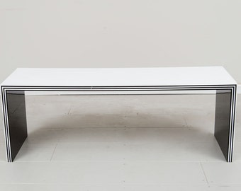 Heavy Lucite Italian designer white and Black Bench/Coffee table