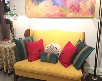 Original Stickley Love seat in yellow fabric 1970's