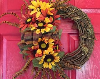 Orange and Yellow Sunflower Fall Wreath