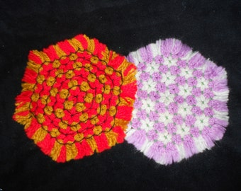 CHOICE Vintage Crocheted Hexagon Pot Holders or Trivets - Red/Gold or Purple/White- Yarn Pot Holders - Retro Kitchen Accessory-Ready to Ship