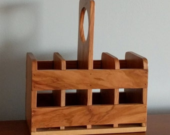 Utensil Holder Caddy - Olive Wood, France, Vintage, Outdoor Entertaining