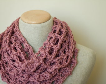 Lacy infinity scarf, cotton/linen scarf, knit infinity scarf, circle scarf, loop scarf, fishnet scarf, vegan clothing, handmade, black, mint