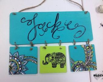 Custom hanging name tag