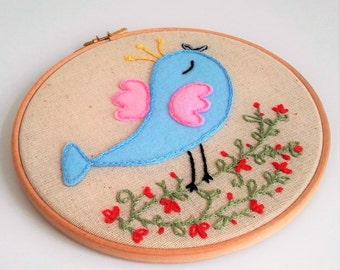Embroidery hoop art, Bird, Home Decor, Fabric Wall Hanging, Nursery Wall Art, Baby Shower Gift, Gift Under 50, Nursery Decor, Art Embroidery