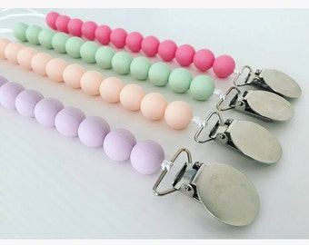 Pacifier Clip silicone teether toy metal clip baby toy clips teething cute toy Babyshower gift