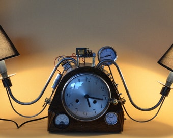 SOLD - Steampunk lamp with clock, industrial, steampunklamp, steampunkclock