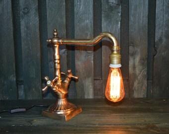 SOLD - Steampunk (bath-tap) lamp, steampunk light, industrial lamp