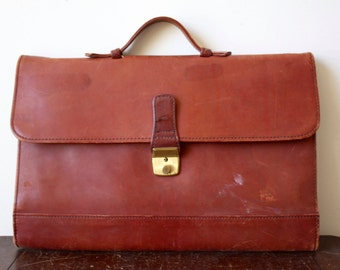 Red leather briefcase- vintage