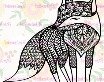 Tribal Fox Instant Download SVG Cut File Silhouette Cricut