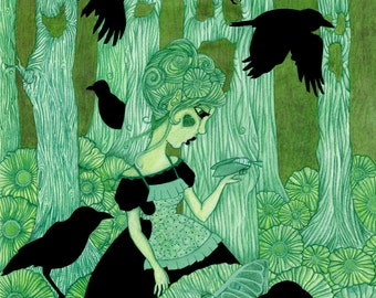Fairy tale Art Print  Wall Art Giclee Woods Print Surrealism Gothic Romance Print Crows Emerald Illustration Romantic Artwork Gift For Her