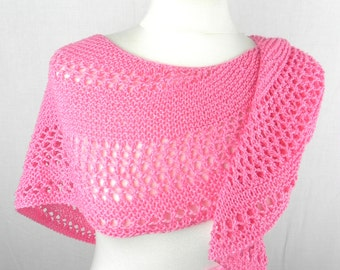 Shawl KNITTING cloth scarf shawl scarf shawl cotton hand knitted pink raspberry
