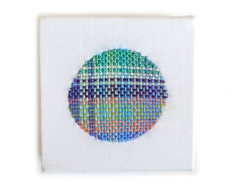 Colorful Original Art, Miniature Weaving, Embroidered Art, Textile Art, Embroidery Under 50