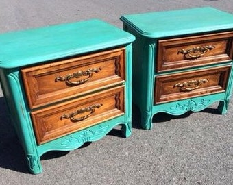 Santa Fe Turquoise Green Chalk Painted French Provincial Night Stand Set