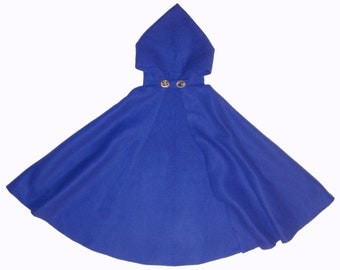 ROYAL BLUE Fleece Adult/Child Hooded Cape/Cloak/Capelet, Cosplay Halloween Costume